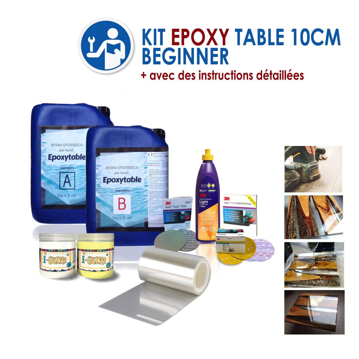 """KIT COMPLET """"EPOXY TABLE 10CM BEGINNER"""" POUR TABLES jusqu'à 10 cm d'épaisseur"""