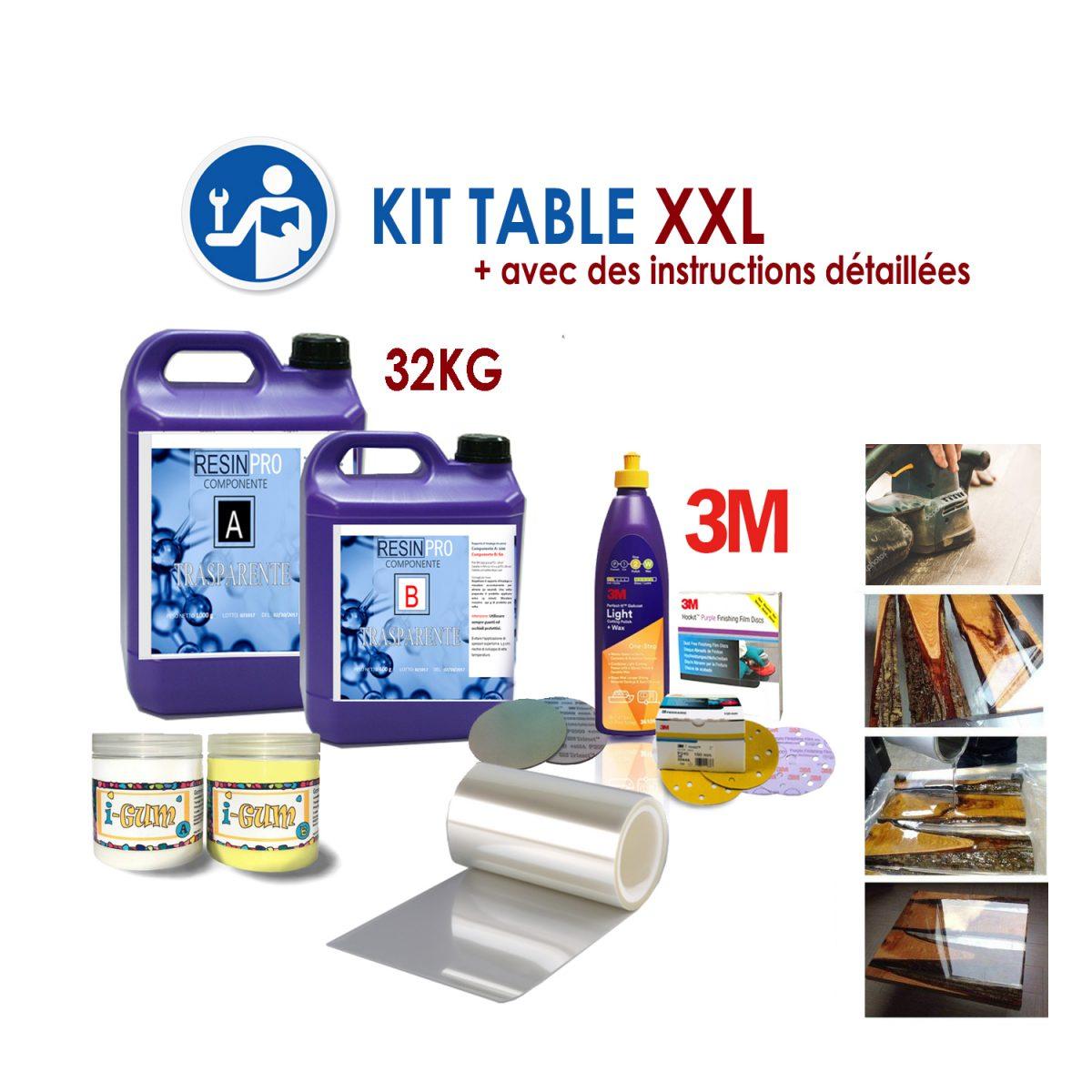 """KIT COMPLET POUR TABLES EN BOIS ET RESINE """"XXL"""""""