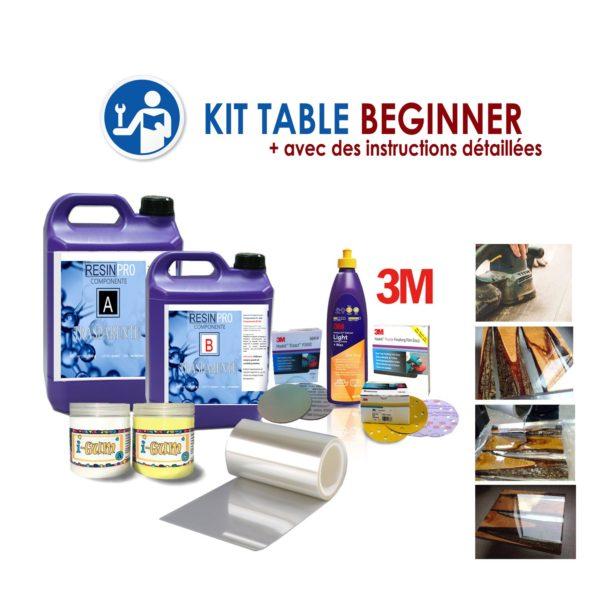"KIT COMPLET POUR TABLES EN BOIS ET RESINE ""BEGINNER"""
