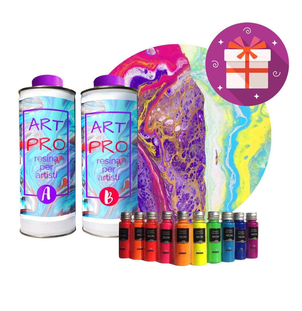 ART PRO RÉSINE TRANSPARENTE POUR LES ARTISTES 1.6 KG + SET PIGMENTS NEON + TOILE  EN CADEAU - IDEAL POUR RESINE-ART ET POUR ART