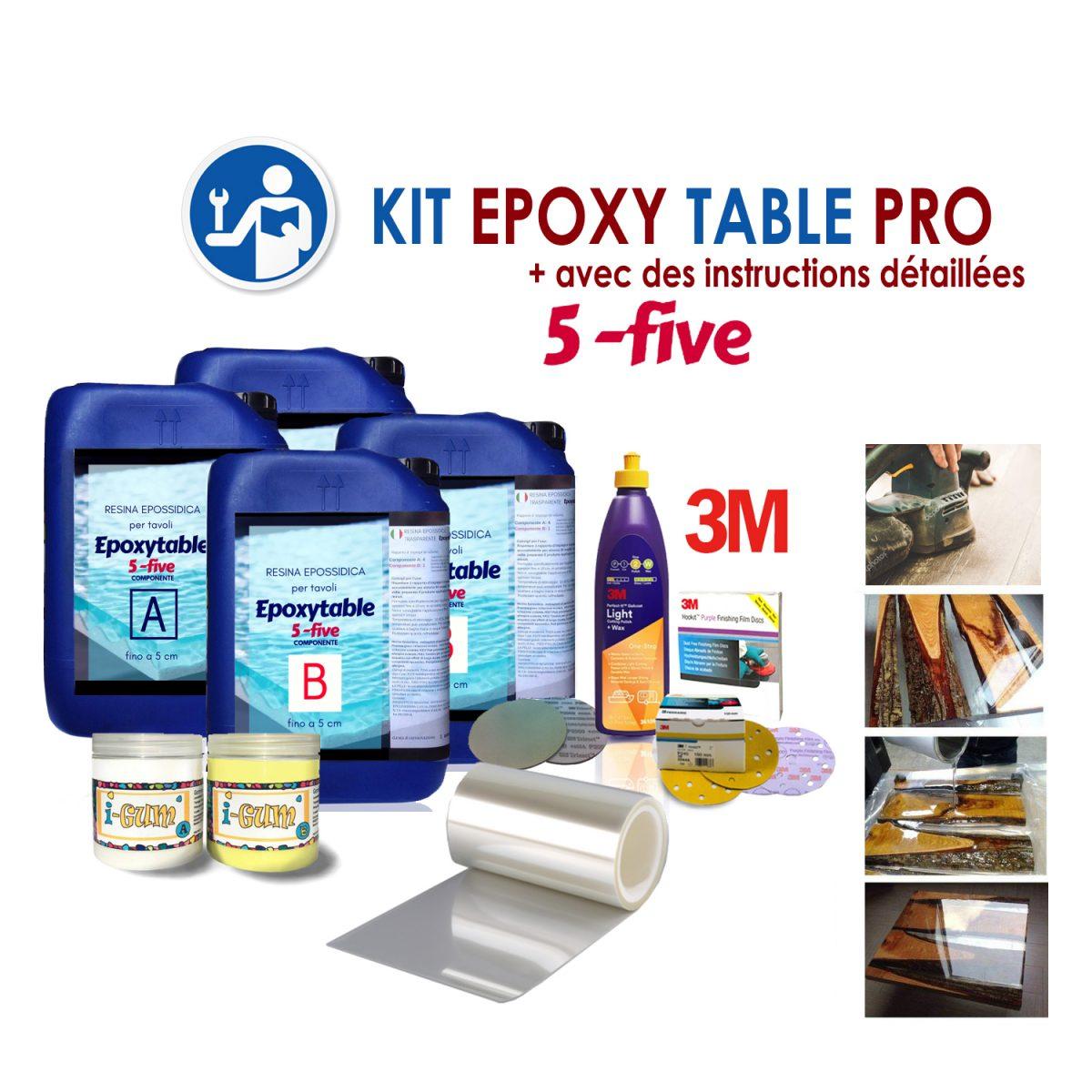 """KIT COMPLET """"EPOXY TABLE 5-FIVE PRO"""" POUR TABLES"""