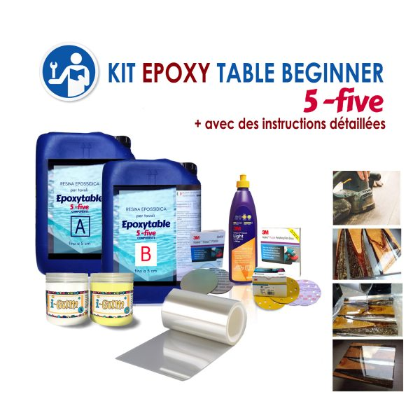"KIT COMPLET ""EPOXY TABLE 5-FIVE BEGINNER"" POUR TABLES"