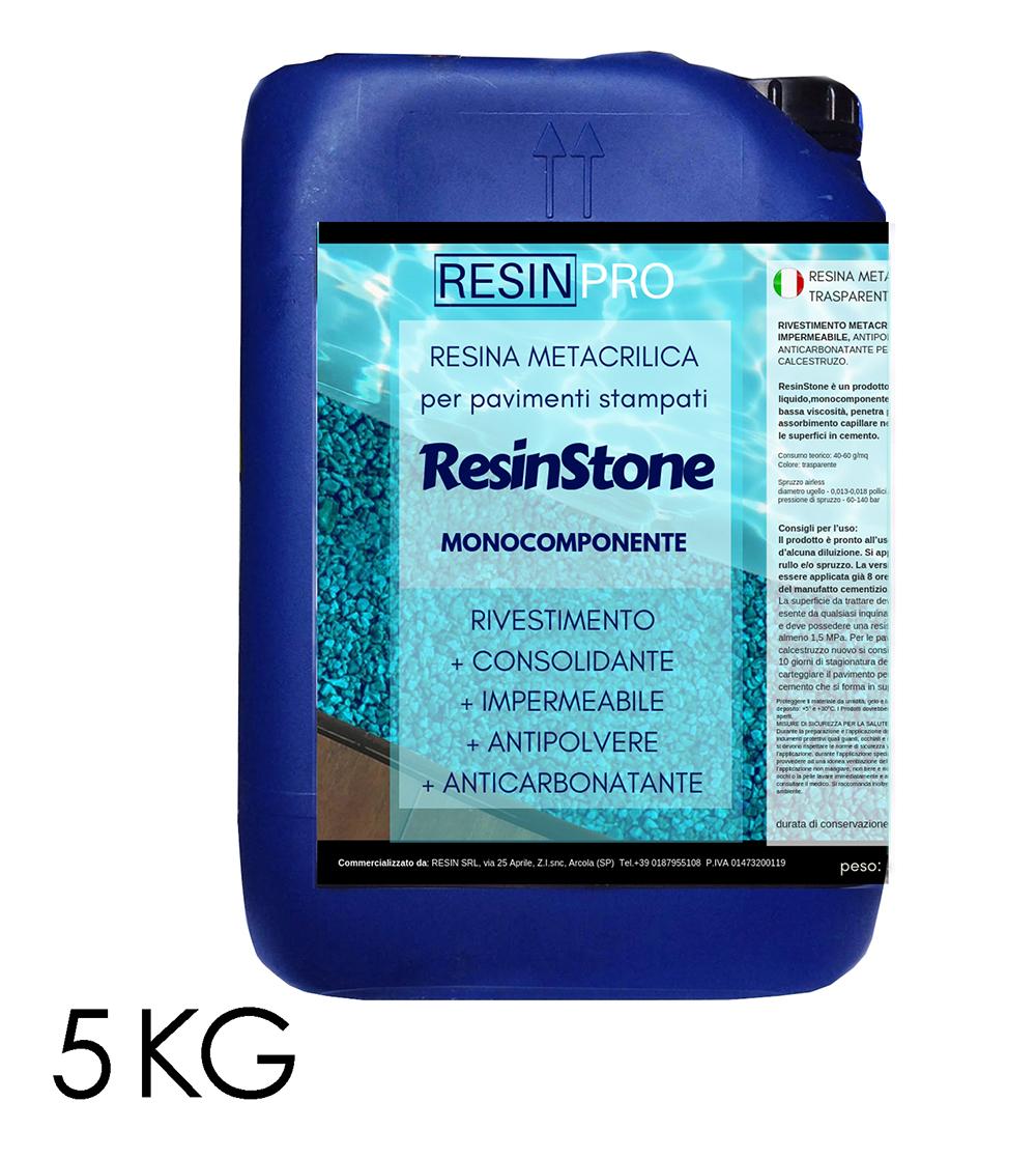 RESINSTONE RESINE METHACRYLIQUE MONOCOMPOSANTE pour sols imprimés -5 KG