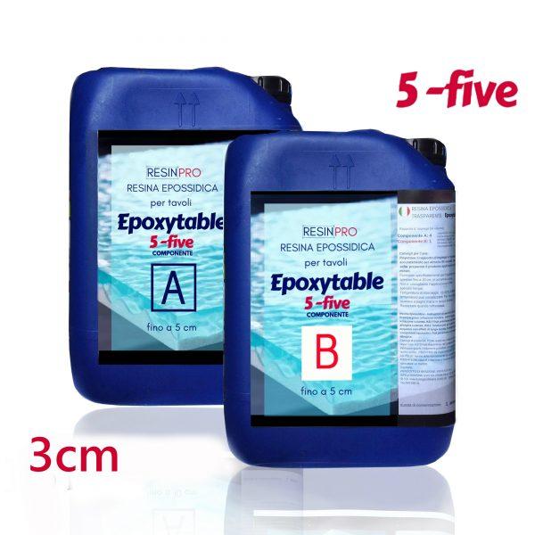 Résine époxy pour tables EPOXYTABLE 5-FIVE 15 KG